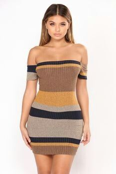 Available In Burgundy/Multi And Yellow/Navy Stripe DressOff ShoulderShort SleeveRibbed Polyester SpandexMade in USA Striped Dress Outfit, Navy Dress Outfits, Yellow Dress, Sexy Dresses, Stripe Dress, Cheap Party Dresses, Designer Party Dresses, Party Dresses Online, Plus Size Fall Fashion