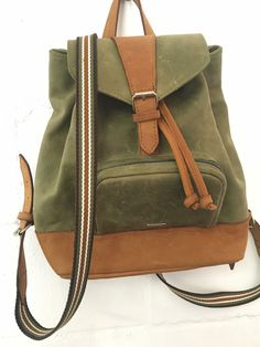 Leah ladies backpack - olive stripe - olive and toffee diesel leather