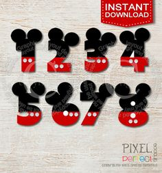 INSTANT DOWNLOAD Mickey Mouse inspired clipart numbers clip art for scrapbooking small project with ears in red black, mickey mouse numbers