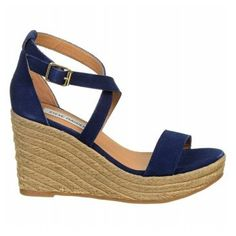 Women's | Steve Madden Montaukk Espadrille Wedge Sandal - Blue Suede - FREE SHIPPING at Shoes.com
