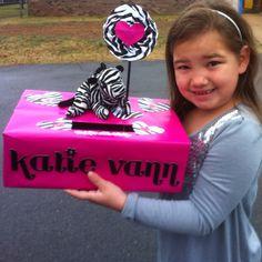 Katie Ann's zebra themed valentine box.