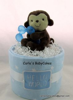 Boy diaper cake   Mini diaper cake   Blue diaper cake   Monkey diaper cake   Baby shower gift   Baby shower decoration   Mom to be gift by MsCarlasBabyCakes on Etsy