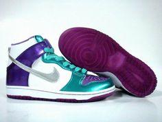 Nike Dunk Sb High GS Womens Metallic Silver White Violet Purple