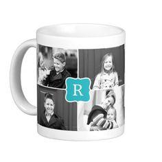 Monogram Collage Custom Photo Mug -  Turquoise Coffee Mugs