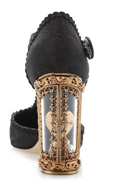 Black Jacquard T Strap Mary Jane With Window Pane Pump by DOLCE & GABBANA for Preorder on Moda Operandi