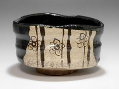 KURO ORIBE CHAWAN - Modern Black Japanese Pottery Tea Bowl - MINO Ware #2098 - ChanoYu online shop