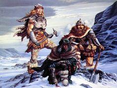 The Crystal Shard - cover featuring Wulfgar, Drizzt Do'Urden and Bruenor Battlehammer