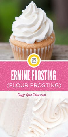 Ermine Frosting Ermine frosting made from boiled milk, flour, sugar and vanilla whipped into butter. It's light, fluffy and very much like whipped cream in texture. Cupcake Frosting Recipes, Icing Frosting, Cake Icing, Cooked Frosting Recipe, Red Velvet Cake Frosting, Whipped Buttercream Frosting, Vanilla Icing Recipes, Boiled Icing Recipe, Cake