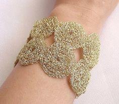 SALE 15% OFF Crochet wire cuff bracelet by nefertitijewelry2009