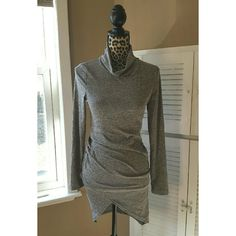 Gray lightweight ruched sweater dress Beautiful lightweight sweater dress, has draping neck, light ruching on the side for a flattering fit. Size Medium, but it is stretchy. Dresses