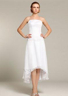 Vestido+de+novia+Alto+Bajo+Asimétrico+Dobladillo+Verano+Sin+mangas+Sin+tirantes