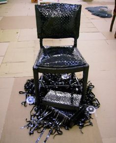 reuse furniture - made from VHS tapes