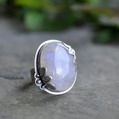 Sterling Moonstone Ring Oxidised Sterling Silver by christinewalsh