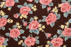 Notions Potions Quilt Patchwork One Yard Cotton Fabric Chic Floral English Rose in Pink Brown