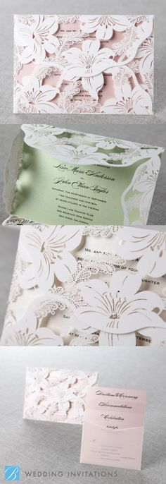 Stunning Lily Blossoms Laser Cut Wrap by B Wedding Invitations #lasercut #invitation.