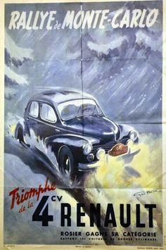 HAM GEO Rallye de Monte-Carlo - Triomphe de la 4cv Renault 1949HAM GEOGeorges Lang Paris1 Affiche Non-Entoilée B.E. B + Plis. Déchirures. Petits manques. / Folds. Tears. Small missing papers.110 x 73 … - Art Richelieu - 23/03/2015