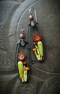 Blooming Cactus, Flowers, Hoops, Artisan Made, Cactus, Southwest, Desert, Summer, Spring, Glass, Organic, Rustic, Unique, Beaded Earrings