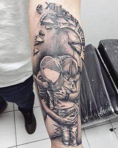 Father and son tattoo clock tattoo