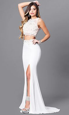 e7f1d14f4351 Two-Piece Ivory Prom Dress with Illusion-Lace Top. Ivory Prom DressesWhite  Wedding ...