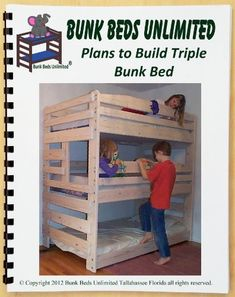 Triple Bunk Woodworking Plan and Hardware Kit that Sleeps Three (Wood NOT Included) by Bunk Beds Unlimited, http://www.amazon.com/dp/B006FR6OUM/ref=cm_sw_r_pi_dp_Ugtksb0ECS5G0
