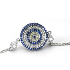 Evil Eye Bracelet 925 Sterling Silver Filled , REAL SAPPHIRE and white and yellow CZ stones by Evil Eye Gems (Evil Eye Jewelry)