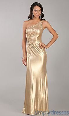 Floor Length Gold Sequin Dress at SimplyDresses.com