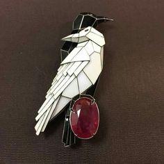 Enamel and rubellite brooch, by Ilgiz F.