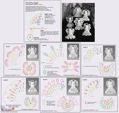 Alice's Enchanted World: Crochet ANGELS for Christmas tree Crochet Christmas Decorations, Christmas Crochet Patterns, Crochet Ornaments, Crochet Snowflakes, Holiday Crochet, Angel Ornaments, Christmas Crafts, Thread Crochet, Filet Crochet