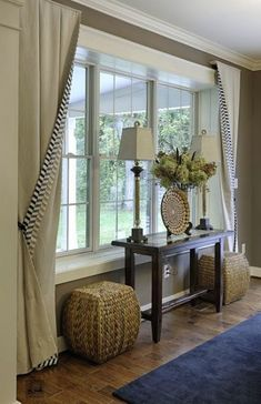 Today's bay window are anything but traditional. If you're thinking about adding them to your home, here Today's bay window are anything but traditional. If you're thinking about adding them to your home, here are some contemporary bay window ideas. Picture Window Curtains, Window Blinds, Blinds Curtains, Sheer Blinds, Blinds Diy, Grey Blinds, Patio Blinds, Blinds Ideas, Modern Blinds