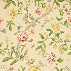 The Caverley collection from Sanderson features the rose on beige wallpaper, Porcelain Garden. Large floral design featuring birds in red and yellow on beige background. Gracie Wallpaper, Beige Wallpaper, Feature Wallpaper, Wallpaper Direct, Print Wallpaper, Fabric Wallpaper, Wallpaper Roll, Pattern Wallpaper, Bedroom Wallpaper