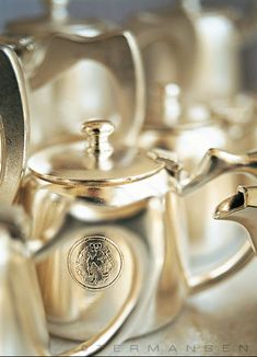 Individual silver tea pots, so like the railroad tea and coffee pots gifted to us by Granny.  Found on silver board @ Kaille As In Kyle on Pinterest