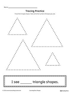 Geometric Shape Counting and Tracing: Triangle Worksheet.Practice counting and tracing the geometric shape triangle in this printable worksheet.