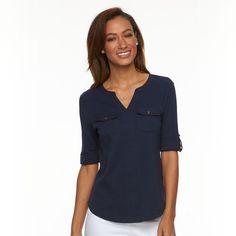 Women's Croft & Barrow® Pocket Roll-Tab Tee, Size: Medium, Blue