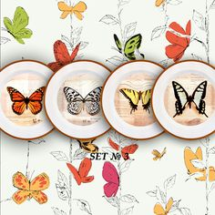 Home decor 4 plates set Butterflies wall decor by PaperPlateArt