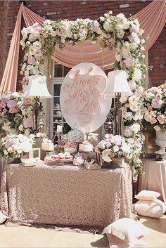 Rustic Wedding Desserts Vintage Dessert Tables, Wedding Cake Table Decorations, Wedding Desserts, Decoration Table, Wedding Centerpieces, Elegant Dessert Table, Pink Dessert Tables, Dessert Table Backdrop, Tall Centerpiece
