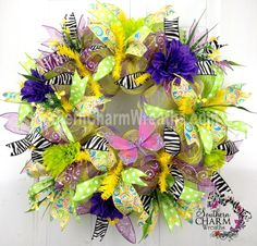 Deco Mesh Spring Summer Wreath Lime Purple Yellow Butterfly by www.southerncharmwreaths.com $91 #decomesh #spring #wreath