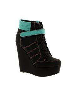 Sneakers Alte Donna con Zeppa Interna Allacciatura a Velcro Black ... a1f691af3ea