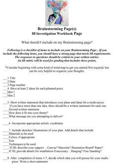Brainstorming page guide for IB but works fit AP projects too Art Analysis, Art Room Posters, Art Critique, Art Handouts, Middle School Art, Art School, Art Criticism, Ap Studio Art, Art Worksheets