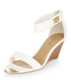 White Metal Front Ankle Strap Wedges