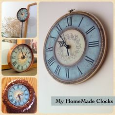 I made these clocks, with inspirations found at Pinterest. You can download the clockfaces that I designed myself on my blog if you like - to make your own clocks: http://ztampf.com/blog/2011/12/06/tick-tock-tick-tock