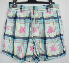 VILEBREQUIN Mens Swim Trunks XL Plaid Pink White Turtles Moorea Board Shorts