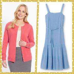 NEW Outfit - Dress (Blue) and Cardigan (Orange) UK 22 EU 50
