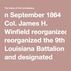n September 1864 Col. James H. Winfield reorganized the 9th Louisiana Battalion and designated them the 3rd Regiment Louisiana Volunteer Cavalry. Through the fall of that year the regiment, under the command of Col. Wingfield, operated in eastern Louisiana and southwestern Mississippi. The frequent engagements with the enemy took the regiment to northern Mississippi in late December 1864. This is where most of the regiment remained until the end of the war.