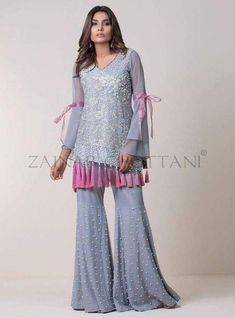 Wedding party dress with dabka threds and pearls work Model # P 208 – Nameera by Farooq Pakistani Wedding Outfits, Pakistani Dresses, Indian Dresses, Pakistani Sharara, Stylish Dresses, Casual Dresses, Fashion Dresses, Kurta Designs, Pakistani Couture