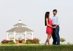 Engagement photos taken in front of the Gazebo at Bauer Ranch