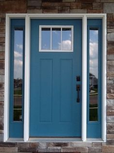 Hi,  We painted our front door Benjamin Moore Calypso Blue and I am just not sure on the color with the stone and color of our house. I like the thought of color and would love suggestions.  Thanks!  Marcy