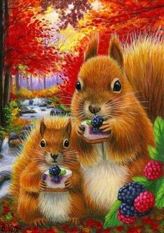 Red Squirrel blackberries wildlife forest fantasy OE aceo print of painting Wildlife Paintings, Wildlife Art, Animal Paintings, Cute Animal Drawings, Cute Animal Pictures, Les Moomins, Animals Beautiful, Cute Animals, Art Fantaisiste