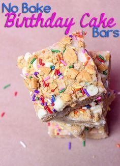 No Bake Birthday Cake Bars #recipe #desserts