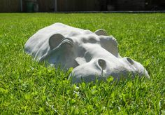 Resting Hippo Lawn Sculpture