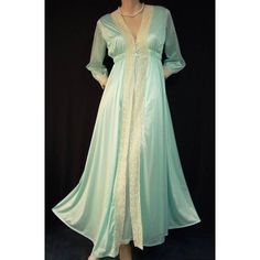 Miss Elaine Satin Nylon & Bobbin Lace Nightgown & Peignoir ~ Small at Heavenly Vintage Lingerie found on Polyvore